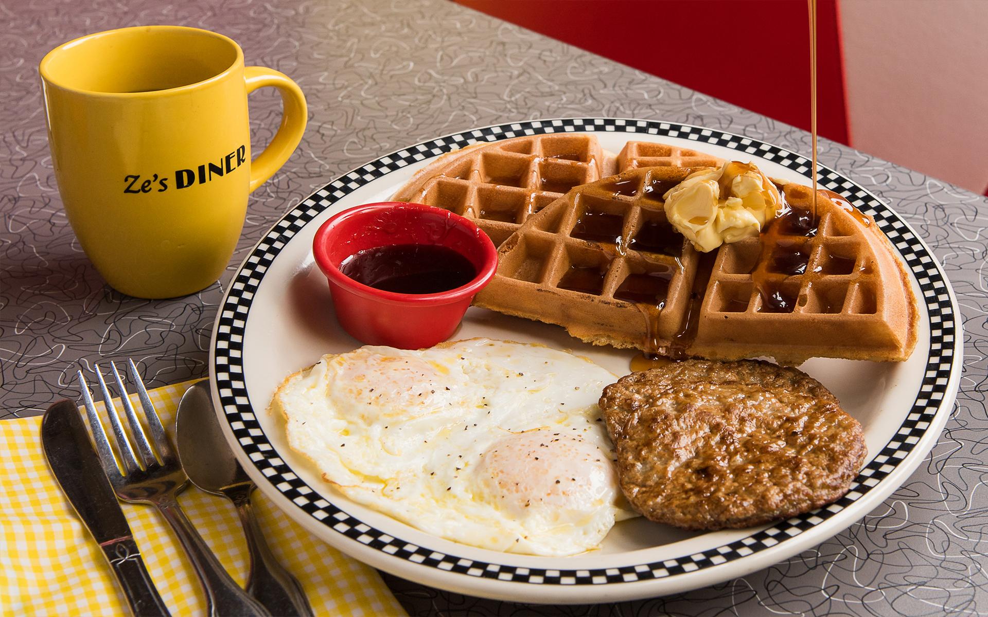 Eggs, Waffles, Sausage, Breakfast & Coffee